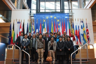 Trip to the EU Parliament with colleagues visiting from Okayama University, December 2014