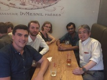 Celebrating Sreejith and Vuk's mid-thesis defense with Prof. Seiji Suga, July 2017